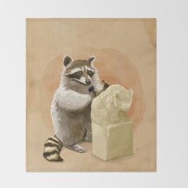 Raccoon in Pursuit of Perfection Throw Blanket