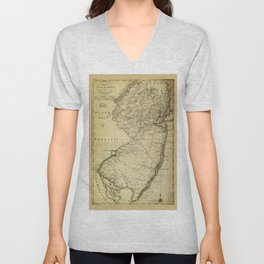 State of New Jersey Map (circa 1795) Unisex V-Neck