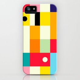 Geometric Bauhaus Pattern   Retro Arcade Video Game   Abstract Shapes iPhone Case