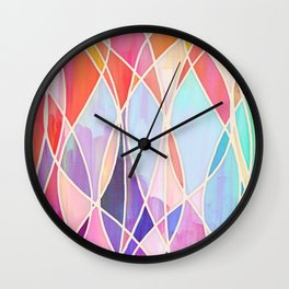 Purple & Peach Love - abstract painting in rainbow pastels Wall Clock