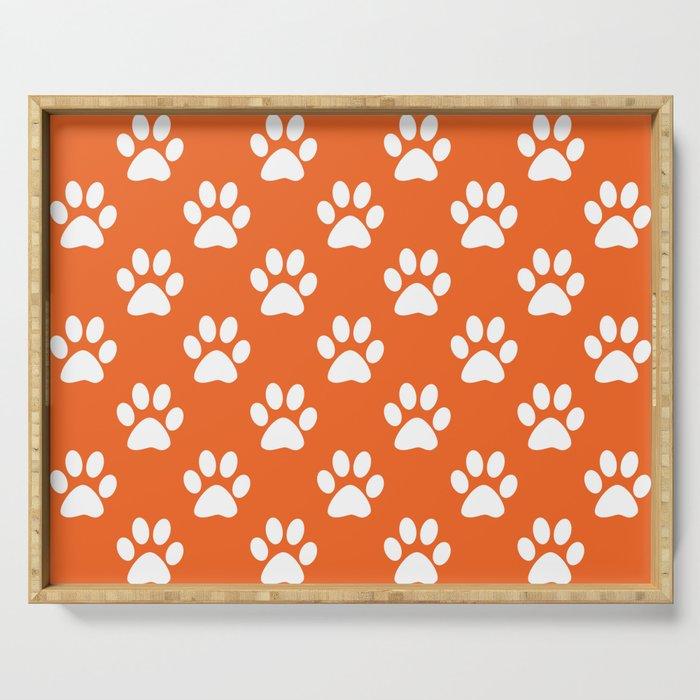 Orange and white paw prints pattern Serving Tray