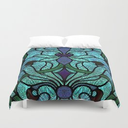 Aqua Green and Blue Art Nouveau Stained Glass Design Duvet Cover
