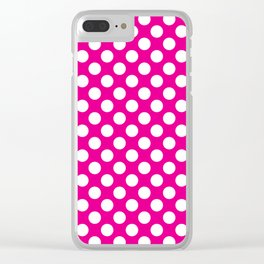 White Polka Dots with Pink Background Clear iPhone Case