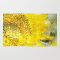 sunflower Area & Throw Rugs featuring Sunflower by Maria Heyens