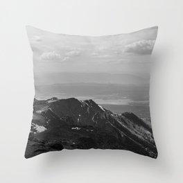 Pikes Peak, Colorado - Black and White Throw Pillow