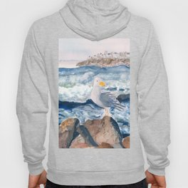 A Watercolor Seagull Named Fred (on Second Cliff in Scituate) Hoody