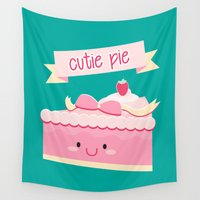 pie Wall Tapestries featuring Cute pie by Alice Wieckowska