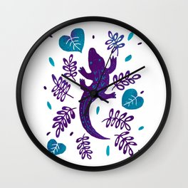 Purple and teal crocodile Wall Clock