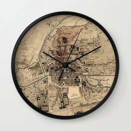 Vintage Map of Rennes France (1875) Wall Clock
