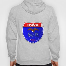Iowa Flag Icons As Interstate Sign Hoody