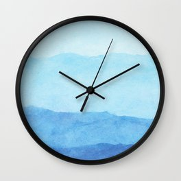 Ombre Waves in Blue Wall Clock
