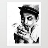 bruno mars Art Prints featuring B MARS  by Miss Kicks