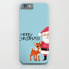Vintage Blue Santa Claus & Rudolph the Red Nosed Reindeer iPhone Case