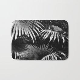 Tropical Botanic Jungle Garden Palm Leaf Black White Bath Mat