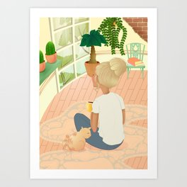 girl with cat relaxing at home looking out the window Art Print