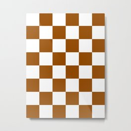 Large Checkered - White and Brown Metal Print