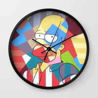 homer Wall Clocks featuring Homer Simpson by iankingart