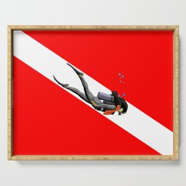 Diver And Dive Flag Serving Tray