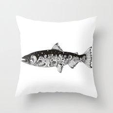 Wild Salmon, Hidden scene, dot-work, pointillism, stippling, Ocean, River, Stream, Fish, Waves Throw Pillow