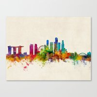 singapore Canvas Prints featuring Singapore Skyline by artPause