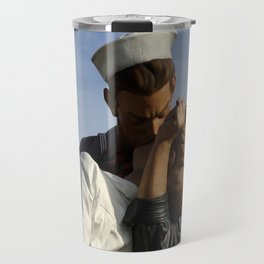 Kissing Sailor And Nurse Portrait Travel Mug