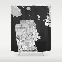 san francisco map Shower Curtains featuring San Francisco Map Gray by City Art Posters
