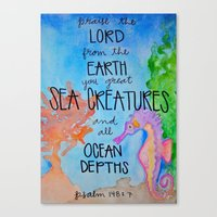 scripture Canvas Prints featuring Sea Horse (Scripture) by HollyJonesEcu