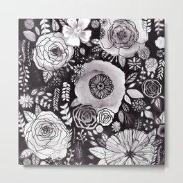 Black&White Floral Mix Metal Print