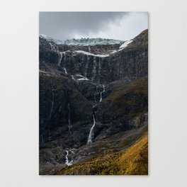 Icy Mountain Waterfall Landscape Canvas Print