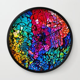 Colorful Rainbow Colored Cracked Mosaic Glass Wall Clock