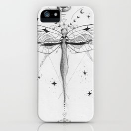 Dragonfly Tattoo Style Black and White Design iPhone Case
