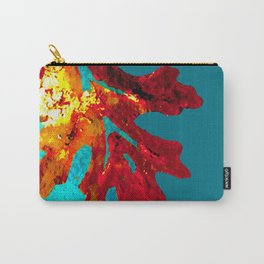 Flaming Orange Oak Leaf, painted acrylic, digitally altered Carry-All Pouch