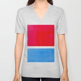 Colorful Bright Minimalist Rothko Midcentury Modern Art Vintage Pop Art Neon Red Cerulean Blue Unisex V-Neck