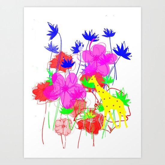 Sunny Giraffe Dot Art Print