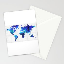World Map 17 - Blue Art By Sharon Cummings Stationery Cards