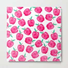 Pink turquoise watercolor apples back to school pattern Metal Print