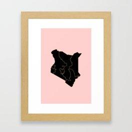 Kenya map Framed Art Print