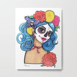 Dia de los Muertos: Sugar Skull Girl Metal Print