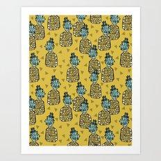 Pineapple - Mustard By Andrea Lauren Art Print