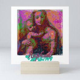 Madonna and Child, Painting by Raphael Sanzio, with his Signature - Pop Art Style Mini Art Print