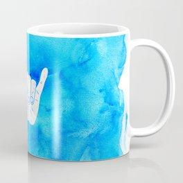 Surf Hang Loose Hawaiian Ocean Blue Hip Watercolor Coffee Mug