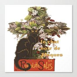 Easter Le Chat Noir de Paques With Floral Cross Canvas Print