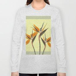Three Paradise Flowers Strelitzia yellow R Long Sleeve T-shirt