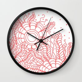 Doodle Art Three Flowers Vines – White and Red Wall Clock