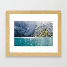 Sparkling Blue Water Alpine Lake Framed Art Print