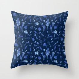 summer fields - navy Throw Pillow
