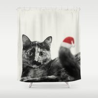 merry christmas Shower Curtains featuring Merry Christmas! by SensualPatterns