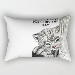Hug the cat Rectangular Pillow