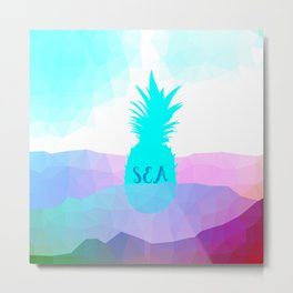 Sunny Sea Pineapple Geometric Summer Vibes Metal Print