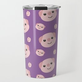 Cute Piggy heads with purple background Pattern Travel Mug